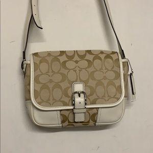 Coach Crossbody Ivory Tan Logo Bag Style 30601